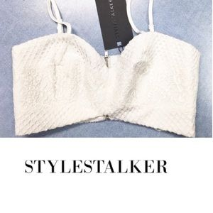 STYLESTALKER Lace Ivory Paradise Crop Top, Small